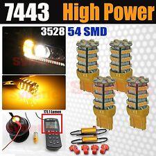 4x 7443/7440 54-SMD LED 170LM Amber Yellow Turn Signals Light Bulbs + Resistors