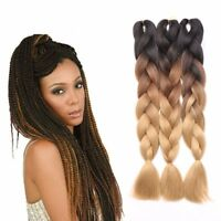 UK Ombre Dip Dye Kanekalon Jumbo Braid Hair Extensions High Quality Twist Braids