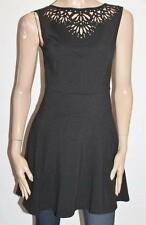 OASIS Designer Black Cut Out Neck Line Sleeveless Day Dress Size S BNWT #SS66