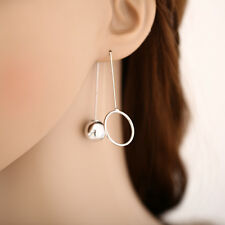 Gold Silver Metal With Ball & Circle Pendant Dangle Drop Earrings Jewelry Gift
