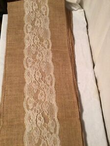 """Burlap Table Runner with Middle Cream lace ,8x12"""" tan """""""