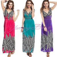 Maxi Dress Long Party Summer Evening Beach Boho Floral Plus Size 8-20 Stretch
