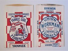 TWO UNION WORKMAN & YANKEE GIRL Vintage Chewing Tobacco Bags