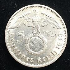 """5 Reichsmark Paul von Hindenburg 1939 """"e"""" con hk conservación! j.367."""