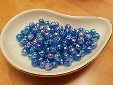 Vintage Rosebud Blue Raspberry AB Luster Plastic Lucite Beads 8mm 144 pc pack