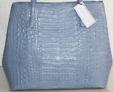 $4150 NEW Nancy Gonzalez MATTE CROCODILE Alligator Shoulder Bag Travel Tote Blue