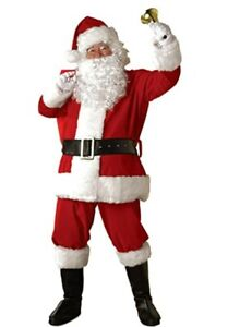Santa Claus Costume 6Pc Rd//Wht Velour /& Faux Fur Christmas Holiday Costume