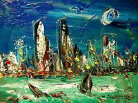 MANHATTAN NYC ART canvas painting Mark Kazav Original Oil Painting nBYOFYI