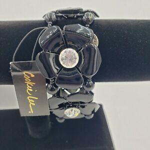 """1.4"""" Cookie Lee black flower stretch bracelet. Rhinestone beads. 2.5"""" diameter."""