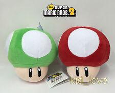 "2X Super Mario Bros Plush Red Super Mushroom Green 1-UP Soft Toy Doll Teddy 5.5"""