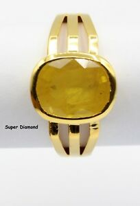Natural Yellow Sapphire Gemstone Ring For Men's Hallmarked 14K yellow Gold