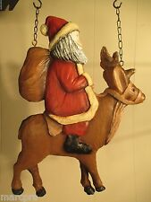 """SANTA on REINDEER"" Replacement Sign - Resin Sign for Country Arrow Holders"