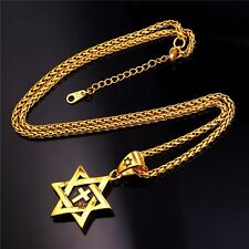 Star of David Cross Pendant & Necklace Chain GOLD PLATED Israel Jewish Christian