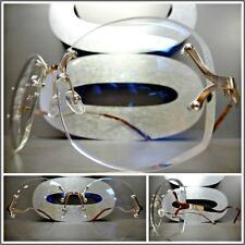 CLASSIC VINTAGE RETRO Style Clear Lens EYE GLASSES Rare Rimless Rose Gold Frame