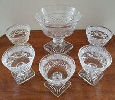 Vintage Cut Glass Serving Bowl and 5 Piece Dessert Bowl Set w/ Square Bases