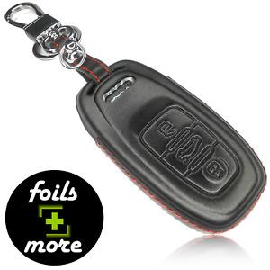 Auto Schlüssel Hülle Leder AUDI Anhänger Schutz Cover Zubehör Schwarz Rot 4D