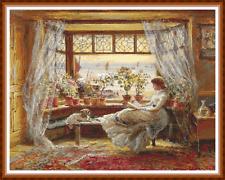 """Son """"leyendo por la ventana 'cuadro de punto de cruz (18 3/4"""" X 14 3/4"""") Victoriano/mar/detallada"""
