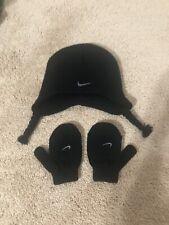 NIKE Toddler Knit Hat & Mittens, BLack