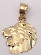 14K Yellow Gold Lion Face Diamond Cut Tiny Small Charm Pendant Unisex