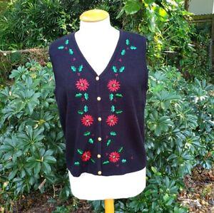 Croft & Barrow Women's Sz L Christmas Holly Poinsettia Lightweight Button Vest