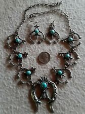 NAVAJO K. BILLAH Squash Blossom Necklace Earrings Sterling Royston Turquoise BIG