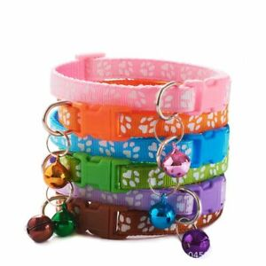 Buckle Cute Colourful Pet Leash Pet Collar Adjustable Puppy Bell Paw
