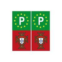 Portugal FPF F autocollant sticker plaque rouge vert europe P droits