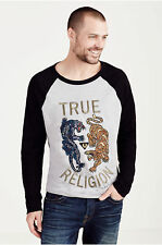 True Religion Men's Panther Vs. Tiger Embroidered Long Sleeve Tee T-Shirt
