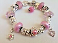 European Style Charm Bracelet with Murano Glass Beads,Snap Clasp Closure+Stopper