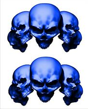 Suzuki GSXR 1000 750 600 GS 500 Hayabusa 5 Skulll Blue Stickers Decals Set of 2