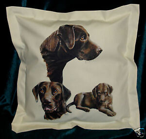 Hand Crafted Chocolate Labradors dogs cushion cover