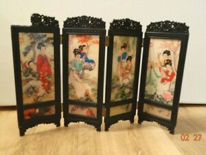 Japanese Desk Top Folding Screen with 4 Panels