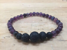 Reiki Charged Aromatherapy Bracelet - Fluorite Crystal and Lava Beads