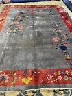 antique chinese art deco rugs in good condition 8.11x11.7#9320