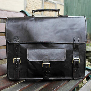 "14"" Real Leather Brown Handmade Vintage School Satchel Cross Body Messenger Bag"