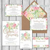 Personalised Luxury Rustic Wedding Invitations PASTEL FLORAL packs of 10