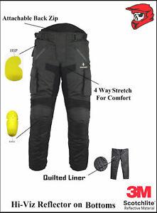 Men's Biker Rider Trouser CE Waterproof Winter Thermal Quilt Removable Lining UK