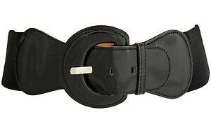 New Women Fashion Belt Hip High Waist Stretch Black Big Buckle Plus Size M L XL