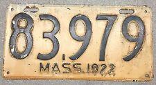1922 Massachusetts Passenger License plate 83979