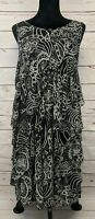 Sue Wong Black And White Layered Stretchy Nylon Mesh Cocktail Dress Size 8