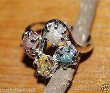 Natural Color Rough Diamond Ring Raw Uncut Diamond Ring .925 Silver Ring Nr #00