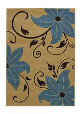 Verona OC15 Beige/Blue -  Autumn Floral stem leaves carved small rug - 060 x 120