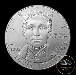 2009 P Louis Braille Commemorative 90% Silver Dollar BU Unc GEM+++ Beauty~!