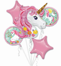 Unicorn Theme Bouquet of 5 Foil Helium Balloons Girls Birthday Party Decorations