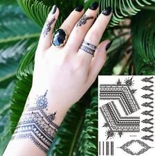 Black Lines Rings Bows Temporary Tattoo  Body Art Waterproof Henna Stickers