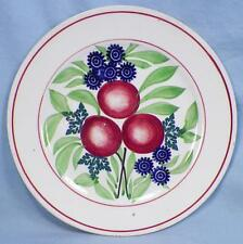 Antique Cut Sponge Dessert Plate Holland Red Lines Plums Spongeware