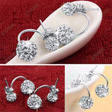 Hot New 925 Sterling Silver Double Beads Crystal Stud Earring Women Jewelry JP