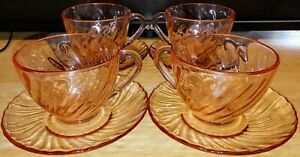 Set (4) Arcoroc Rosaline Watermellon Pink Swirl Tea Cup and Saucers VG Condition