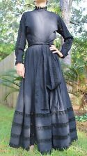 Stunning Vtg 60s Mexican Day of Dead  Goth Lace Black Mourning WEDDING DRESS
