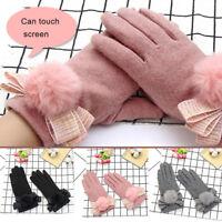 Ee _ Fj- LX _ Exterior Mujer Guantes Pompón Lazo Pantalla Táctil Completo Dedos